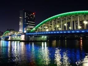 Обои Ночной мост: Река, Мост, Ночь, Города и вода