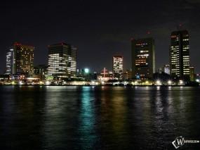 Обои Город в ночи: Ночной город, Города и вода