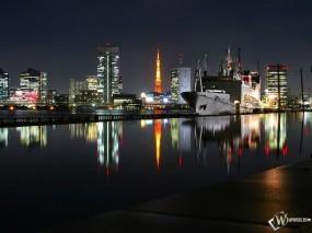 Обои Вечерний город: Город, Ночь, Корабль, Города и вода