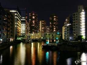 Обои Ночной мегаполис: Ночь, Мегаполис, Города и вода