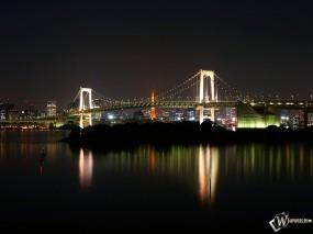 Обои мост в ночи: Вода, Город, Мост, Ночь, Города и вода
