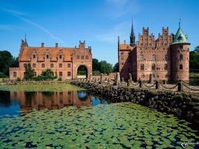 Обои Замок и кувшинки: , Города и вода