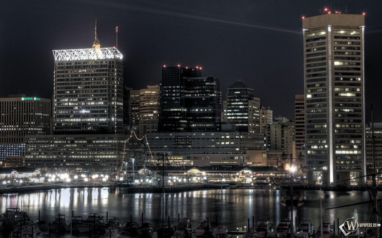 Обои город ночью город океан порт