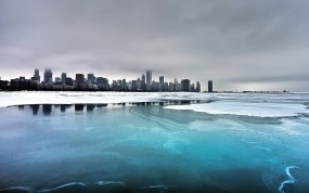Обои Чикаго: Вода, Лёд, Город, Холод, Небо, Мороз, Америка, USA, Чикаго, Города и вода