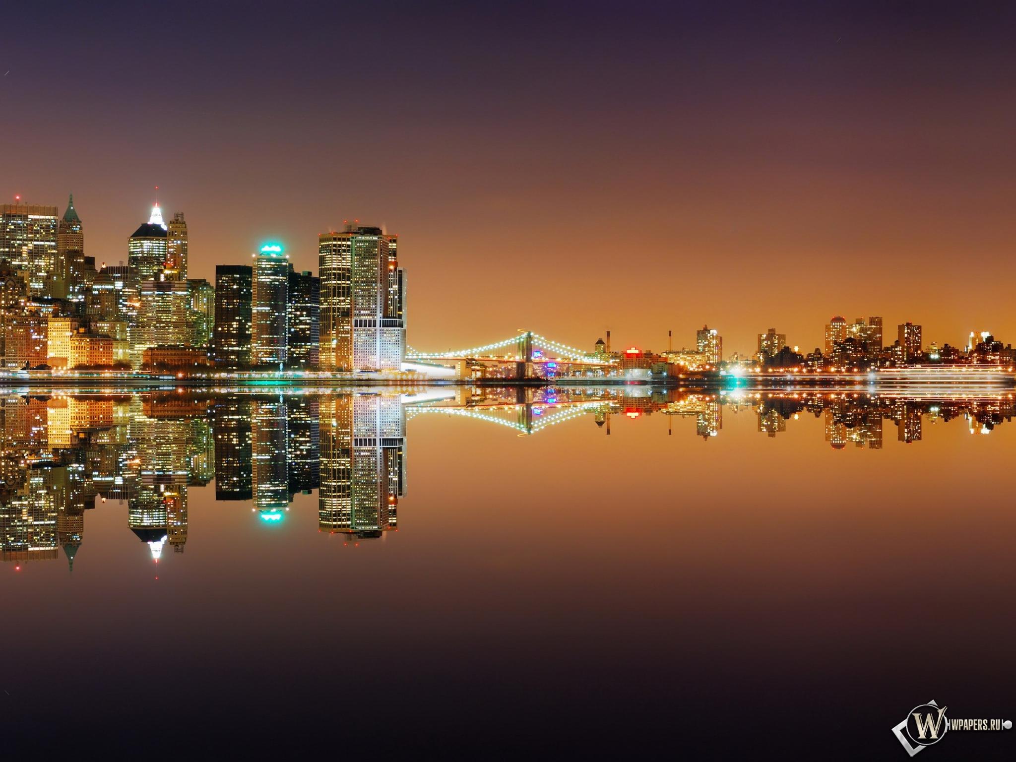 Обои ночной город ночной город вода