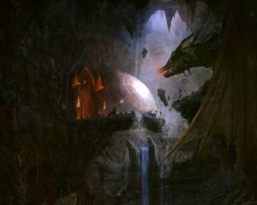 Обои Маг против дракона: Дракон, Схватка, Маг, Фэнтези