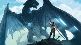 Обои Воительница с драконом: Дракон, Воительница, Фэнтези