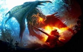 Обои Поединок с драконом: Дракон, Рыцарь, Фэнтези
