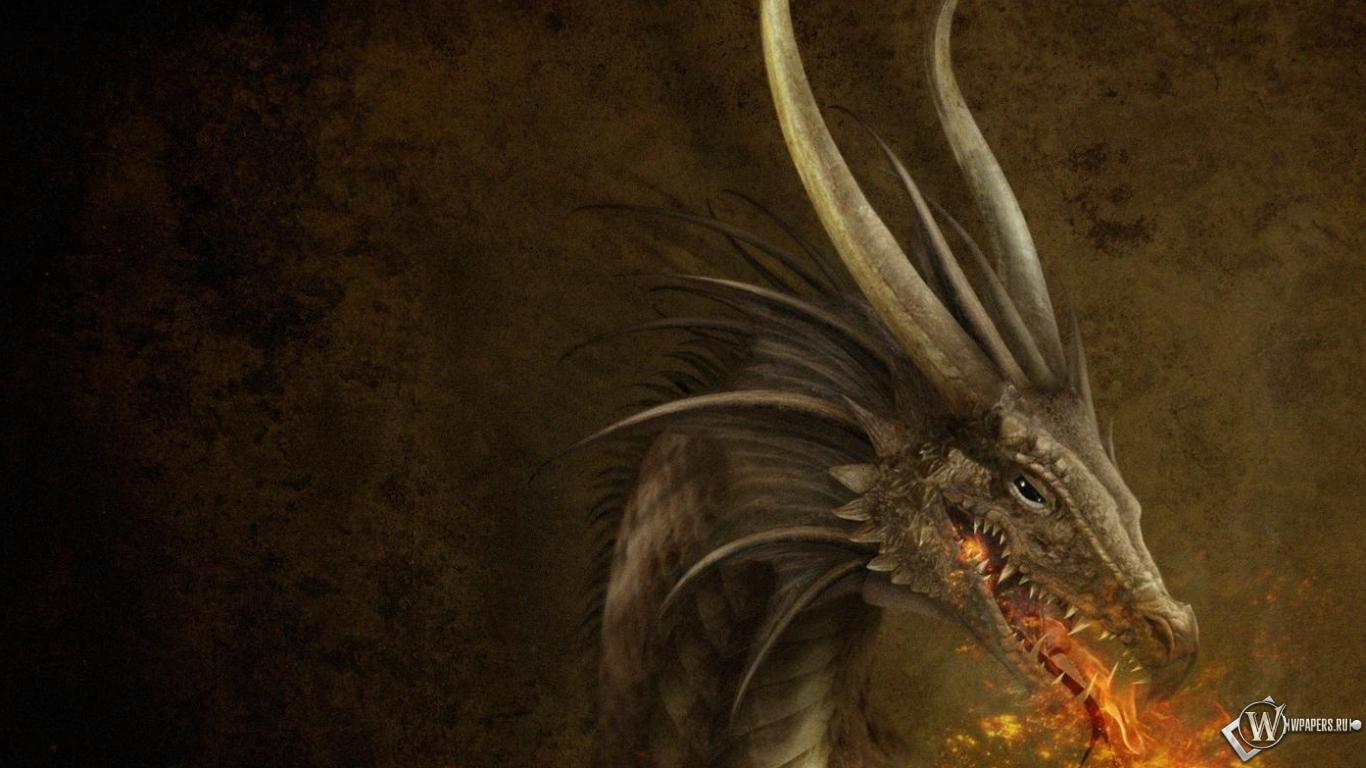 Обои дракон пламя дракон 1366x768