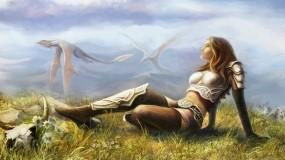Обои Полет дракона: Девушка, Рисунок, Драконы, Фэнтези