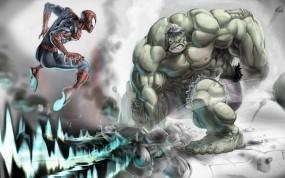 Обои человек паук vs халк: Битва, Халк, Человек Паук, Фэнтези
