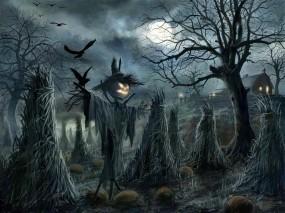 Обои Scarecrow: Ночь, Halloween, Пугало, Вороны, Фэнтези