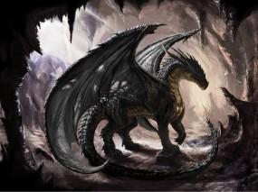 Обои Дракон в пещере: Дракон, Dragon, Пещера, Фэнтези