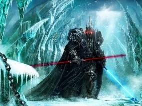 Обои Ситх Артос: Лёд, Световой меч, World of Warcraft, Нежить, Король-лич, Фэнтези