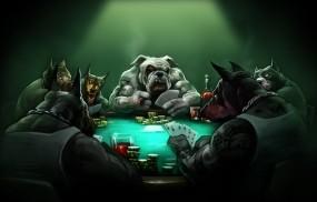 Обои Собаки играют в покер: Собаки, Карты, Стол, Покер, Фэнтези