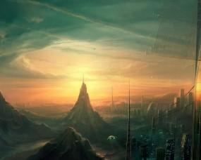 Обои Город будущего: Облака, Город, Будущее, Фэнтези