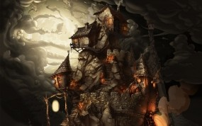 Обои домики на скале: Облака, Мрак, Рисунок, Скала, Фэнтези