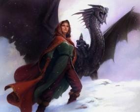Обои Драконий всадник: Девушка, Дракон, Фентези, Приключения, Всадник, Фэнтези