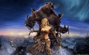 Обои Guild wars - eye of the north: Девушка, Фентези, Медведь, Фэнтези