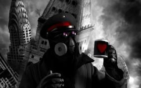 Обои Романтика апокалипсиса: Город, Кружка, Здания, Разрушение, Капитан, Фэнтези