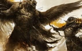 Обои Крылатый монстр: Битва, Лук, Воин, Монстр, Огромный, Фэнтези