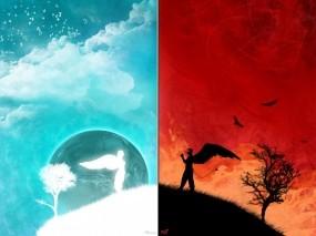 Обои Рай и ад: Рай, Ангел, Демон, Ад, Фэнтези