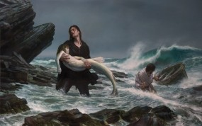 Обои Спасение русалки: Море, Русалка, Картина, Шторм, Фэнтези