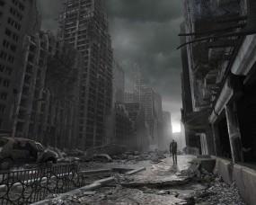 Обои Разрушенный город: Человек, Разрушения, Здания, Катастрофа, Фэнтези