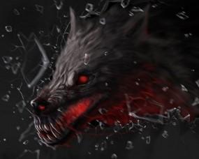 Обои Волк-демон: Стекло, Волк, Осколки, Фэнтези