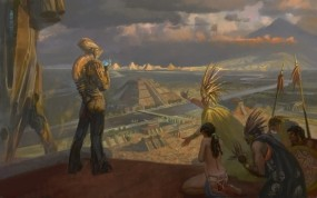 Обои Ацтеки и Индейцы: Картина, Пришелец, Ацтеки, индейцы, Фэнтези
