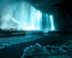 Обои Корабль в бирюзовом леднике: Свет, Лёд, Корабль, Фэнтези