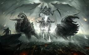 Обои Всадник смерти в бою: Демон, Герой, Всадник, Руины, Фэнтези
