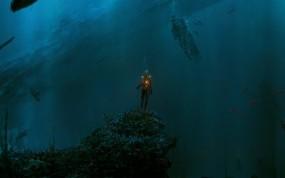 Обои Человек в подводном мире: Вода, Огонь, Человек, Глубина, Рыбы, Фэнтези