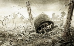 Обои Череп на поле боя: Война, Череп, Смерть, Фэнтези