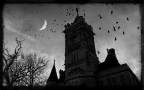 Обои Готичный замок: Ночь, Замок, Готика, Вороны, Фэнтези