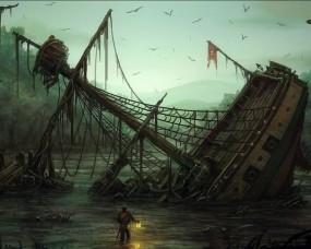 Обои Затонувший корабль: Рисунок, Корабль, Фонарь, Фэнтези