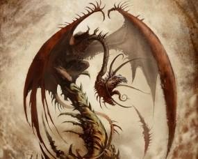 Обои Коричневый дракон: Фэнтези, Дракон, Крылья, Монстр, Фэнтези