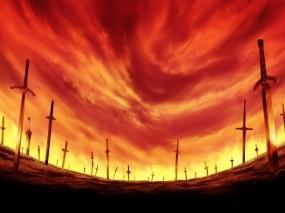 Обои Кровавое небо: Поле, Фэнтези, Небо, Мечи, Фэнтези