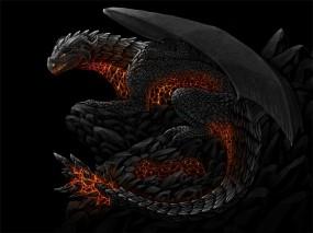 Обои Лавовый дракон: Фэнтези, Дракон, Лава, Фэнтези