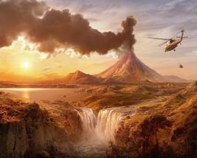 Обои Вулкан и вертолёт: Вертолет, Водопад, Вулкан, Фэнтези