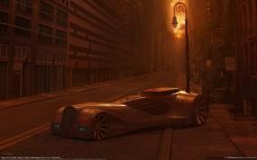 Обои Машина на закате: Машина, Закат, Улица, Фонарь, Фэнтези
