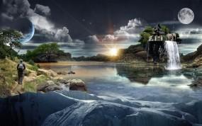 Обои Фантастический пейзаж: Река, Вода, Остров, Водопад, Дом, Фэнтези