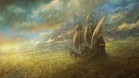 Обои Great Grass Sea: Поле, Небо, Корабль, Фэнтези