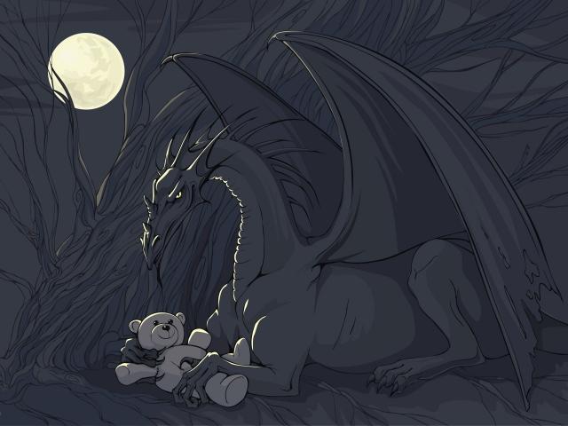 Дракон с игрушкой
