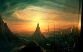 Обои Арт Gary Tonge: Город, Фантастика, Будущее, Фэнтези