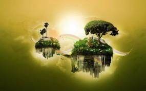 Обои Парящие острова: Вода, Дерево, Острова, Фэнтези