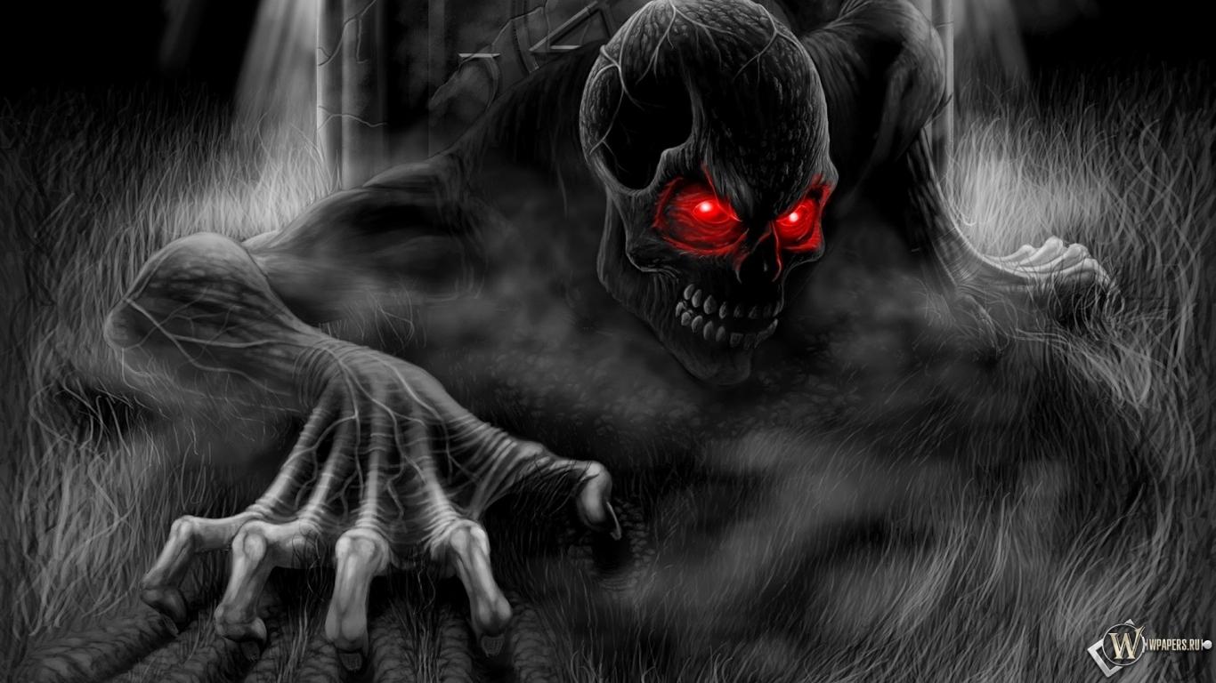 Обои скелет с красными глазами на