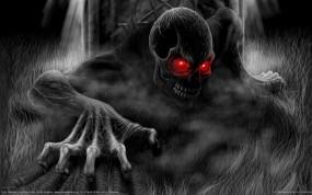 Обои Скелет с красными глазами: Фэнтези, Череп, Скелет, Фэнтези