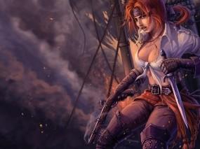 Обои Девушка-пират: Девушка, Фэнтези, Пират, Фэнтези