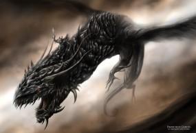 Обои Дракон Тьмы: Тьма, Дракон, Монстр, Фэнтези